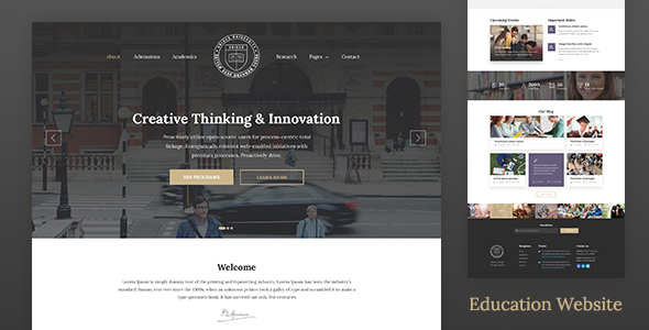 Download Education Website Template for School, College & University — Unisco HTML University Html Templates