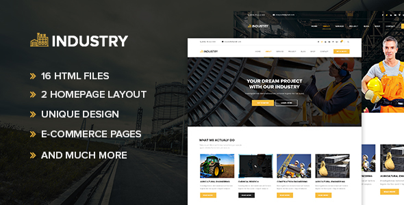 Download Industry - Minimal factory & industry HTML Template White Joomla Templates