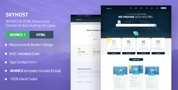 Download SKYHOST - WHMCS & HTML Responsive Domain & Web Hosting Template Amp Html Templates
