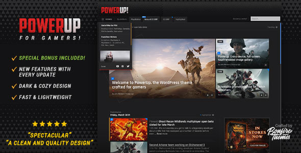 Download PowerUp - Video Game Theme for WordPress Game WordPress Themes
