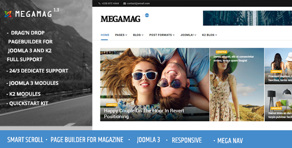 Download Megamag - K2 Magazine and Bloging for Joomla 3 Responsive Templates Magazine Joomla Templates