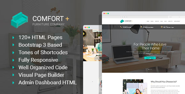 Download Comfort+ - Furniture/Interior Design HTML Template with Builder and Admin HTML Furniture Html Templates