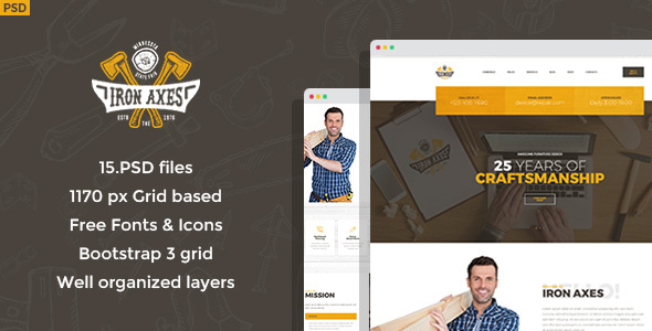 Download Iron Axes - Wood Work/Carpentry PSD Template Wood Joomla Templates