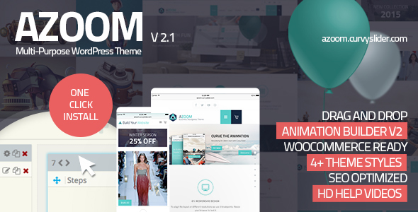 Download Azoom | Multi-Purpose Theme with Animation Builder Grid WordPress Themes