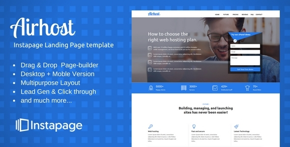 Download Instapage Onepage Template - Airhost Onepage Blogger Templates