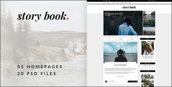 Download Story Book - Elegant Blog PSD Template Vintage Joomla Templates