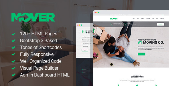 Download Mover - Moving/Delivery Company HTML Template with Page Builder and Dashboard HTML pages Company Html Templates