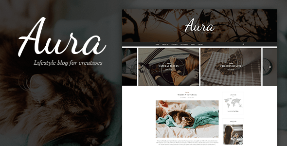 Download Aura - Personal Blog PSD Template focused on Blogger, Traveler, Photographer needs with PSD Files Video Blogger Templates