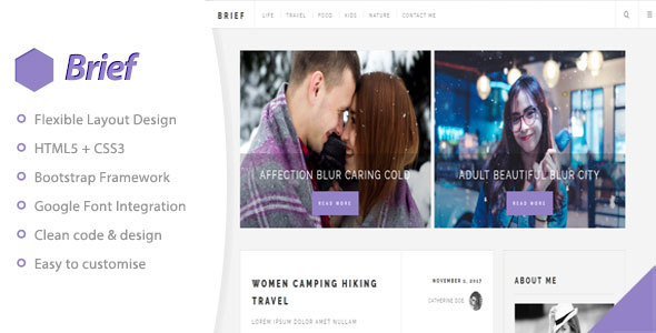 Download Brief & Blog - Personal Blog Template Html5 Blogger Templates