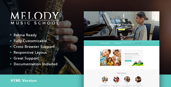Download Melody | Music School HTML Template Music Html Templates
