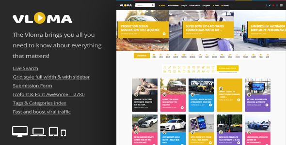 Download Vloma Grid - A Responsive WordPress Video Blog Theme Grid WordPress Themes