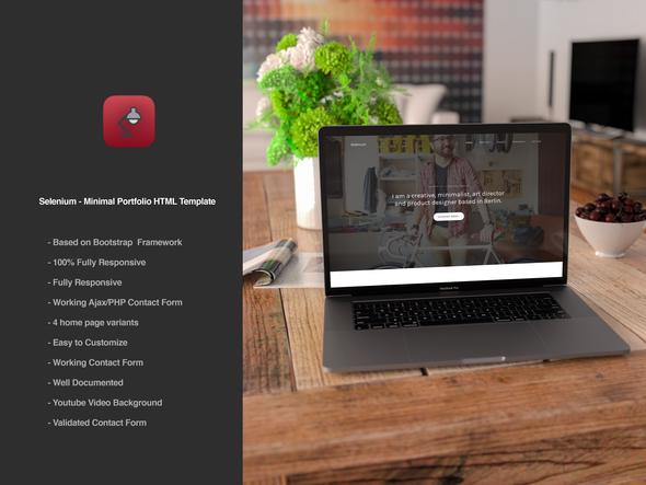 Download Selenium - Minimal Portfolio HTML Template Youtube Html Templates