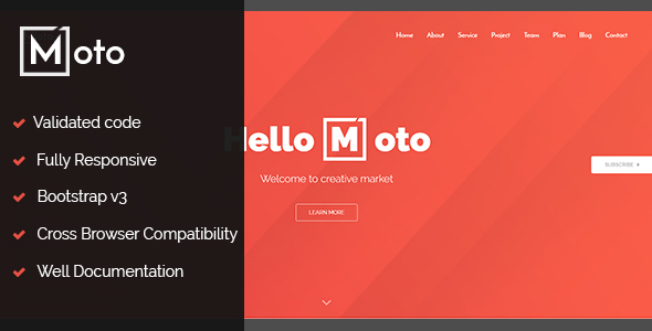 Download Moto - One page / single page Template Onepage Blogger Templates