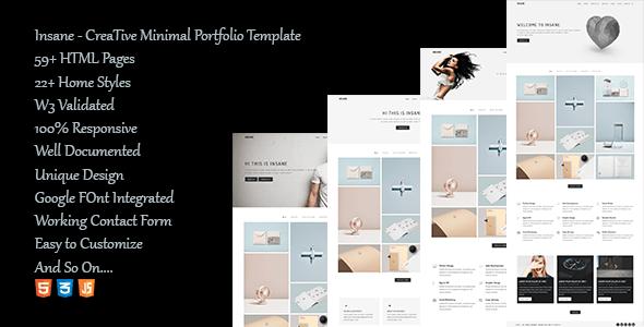 Download Insane - Creative Minimal Portfolio template Portfolio Blogger Templates