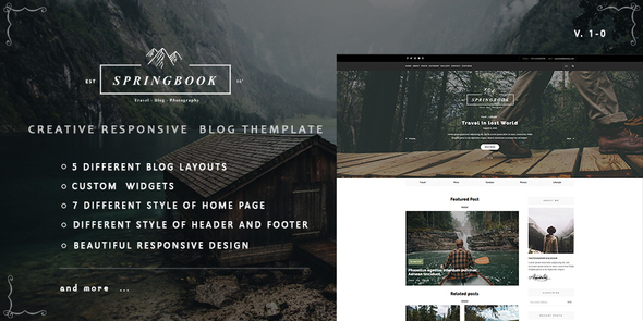 Download Springbook - Responsive   Blog Travel Photography Template Youtube Blogger Templates