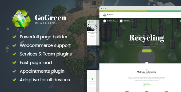 Download GoGreen - Waste Management and Recycling WordPress theme Green WordPress Themes