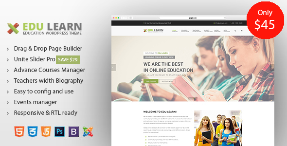 Download EduLearn - Education, School & Courses Joomla Template Event Joomla Templates