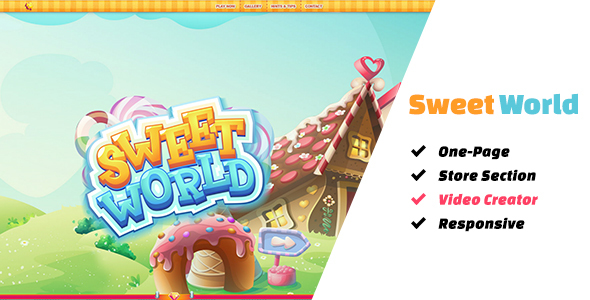 Download Sweet World: The Ultimate One-Page Premium Casual Gaming Template Game Html Templates