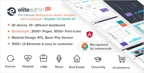 Download Elite Admin - Multipurpose Bootstrap 4  Admin Template University Html Templates