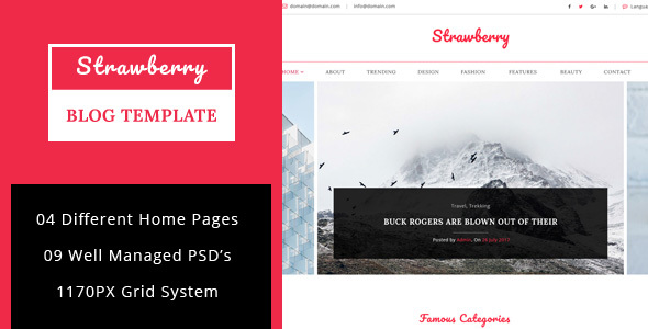 Download Strawberry - Minimal Blog PSD Template Pink Blogger Templates