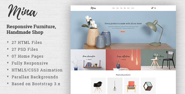 Download Mina - Responsive Furniture, Handmade Shop & Blog HTML5 Template Retro Html Templates