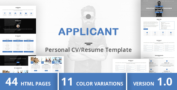 Download APPLICANT - Personal CV/Resume Template Yellow Html Templates