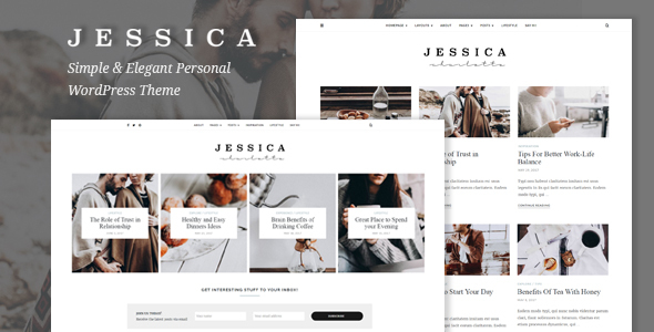 Download Jessica - Simple & Elegant Personal WordPress Theme Grid WordPress Themes