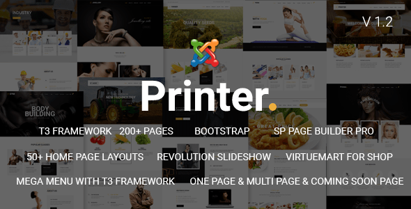 Download Printer - Responsive Multi-Purpose Creative Joomla Theme Job Joomla Templates