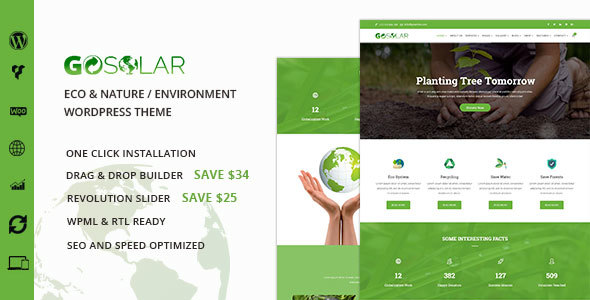Download Go Solar - Eco & Nature / Environment WordPress Theme Green WordPress Themes