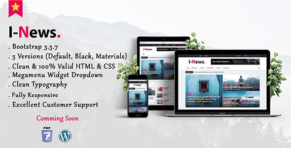Download I-News - Bootstrap Responsive HTML News & Magazine Blog Template Newspaper Html Templates