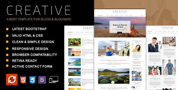 Download Creative - Blog HTML Template Fashion Blogger Templates