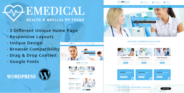 Download eMedical - Health & Business Responsive WordPress Theme Hospital WordPress Themes