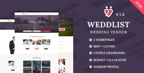 Download Weddlist - Wedding Vendor Directory HTML Template Directory Html Templates