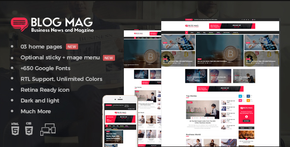 Download Blog Mag Bootstrap Business News and Magazine Responsive Template Video Blogger Templates