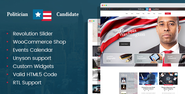 Download Politician - political party candidate modern WordPress theme Modern WordPress Themes
