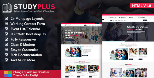 Download StudyPlus - Education & Courses HTML5 Template University Html Templates