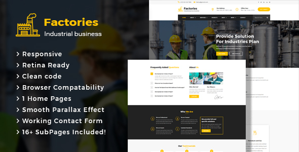 Download Factories - Industrial Business HTML Template Business Html Templates