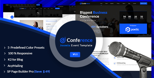 Download JD Conference – Advanced One Page Joomla Event Template Event Joomla Templates