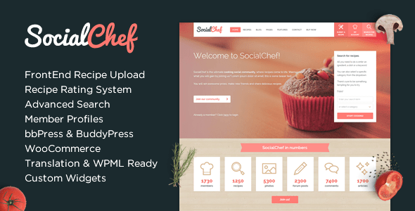 Download SocialChef - Social Recipe WordPress Theme Recipe WordPress Themes