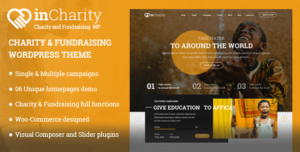 Download Charity WordPress Theme - InCharity theme for Charity, Fundraising, Non-profit organization Organization WordPress Themes