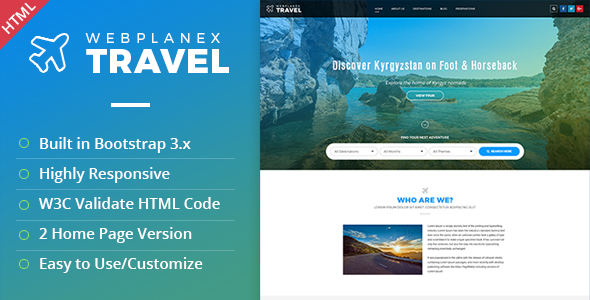 Download Tour & Travel HTML Template by WebPlanex Travel Html Templates