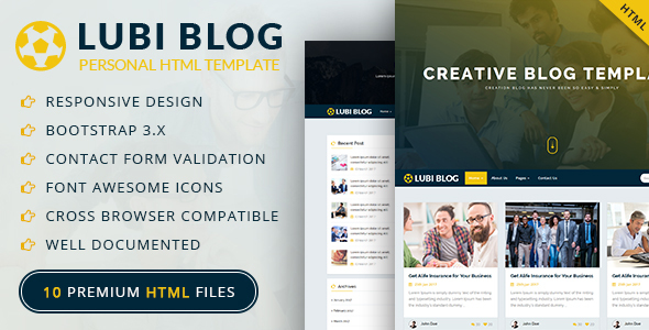 Download Lubi Personal Blog HTML Template Blog Html Templates