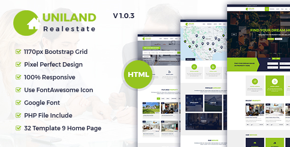 Download Uniland - Real Estate HTML5 Template Fast Load Html Templates