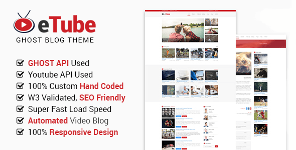 Download eTube - Ghost Video Blog / Magazine / Entertainment Site Template Video Blogger Templates