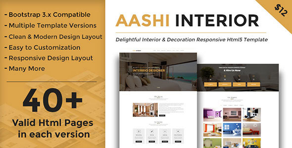 Download Aashi Interior - Responsive HTML Template for Interior Design and Decoration Interior Html Templates