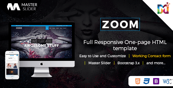 Download Responsive One Page Parallax - Zoom Youtube Html Templates