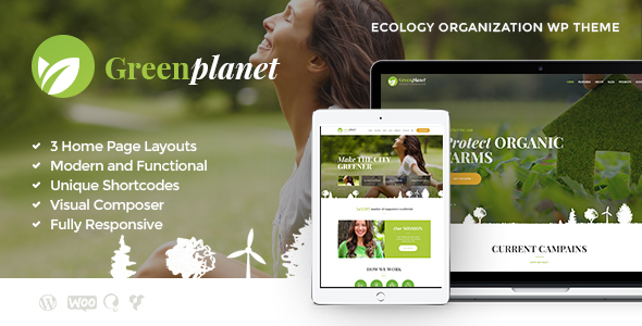 Download Green Planet | Environmental Non-Profit Organization Green WordPress Themes