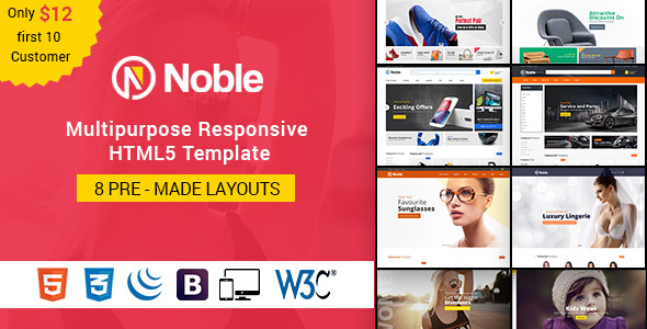 Download Noble - Responsive Multipurpose E-Commerce HTML5 Template Furniture Html Templates