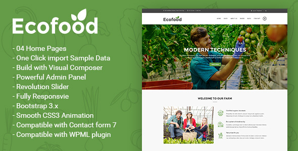 Download Ecofood - Responsive Organic Store & Farm WordPress Theme Organization WordPress Themes