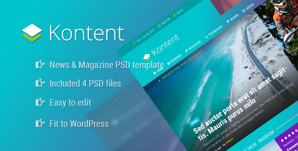 Download Kontent - News and Magazine PSD Template Grid Blogger Templates